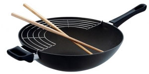 Wok with draining rack